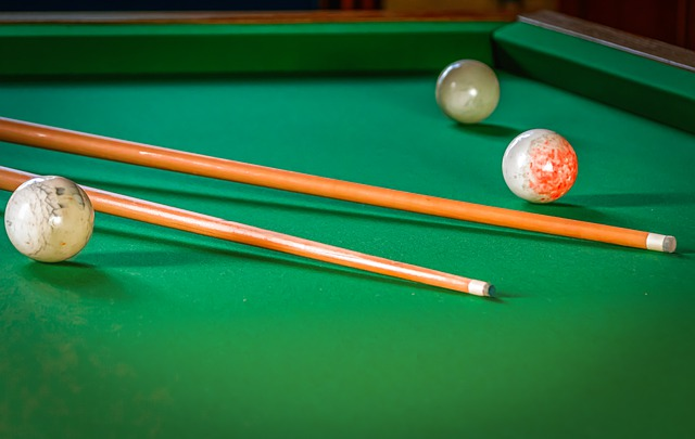 close up of standard sized pool table